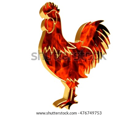 3D illustration. Rooster with flames of fire on a white background