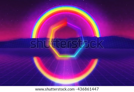 3D Illustration - 80s futuristic landscape with rainbow