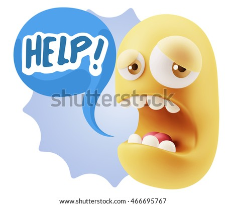 3d Illustration Sad Character Emoji Expression saying Help! with Colorful Speech Bubble.