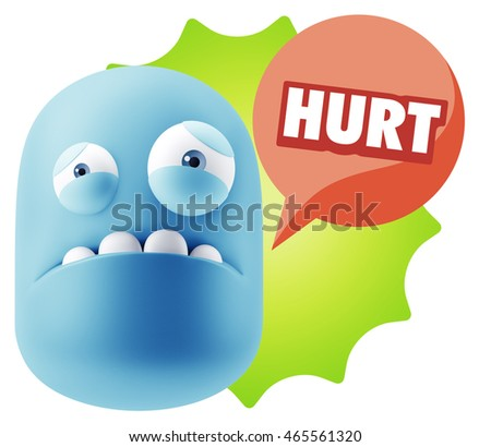 3d Illustration Sad Character Emoji Expression saying Hurt with Colorful Speech Bubble.