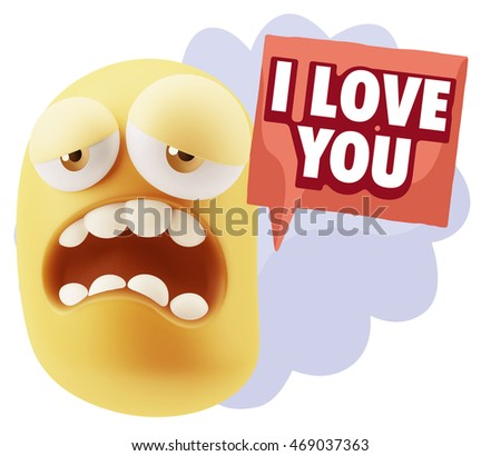 3d Illustration Sad Character Emoji Expression saying I Love You with Colorful Speech Bubble.
