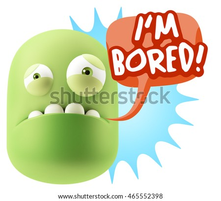 3d Illustration Sad Character Emoji Expression saying I'm Bored with Colorful Speech Bubble.