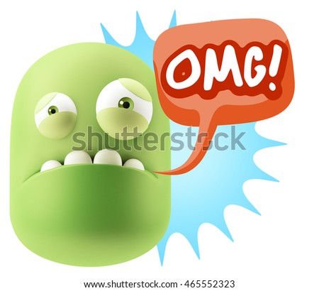3d Illustration Sad Character Emoji Expression saying OMG with Colorful Speech Bubble.