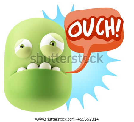 3d Illustration Sad Character Emoji Expression saying Ouch! with Colorful Speech Bubble.