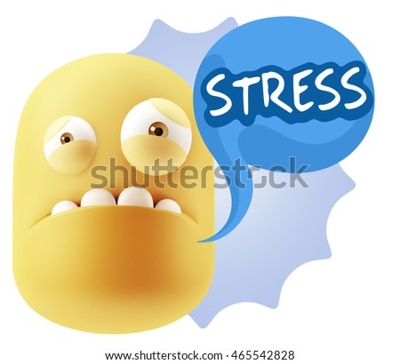 3d Illustration Sad Character Emoji Expression saying Stress with Colorful Speech Bubble.