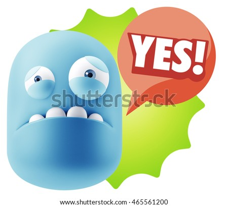 3d Illustration Sad Character Emoji Expression saying Yes with Colorful Speech Bubble.