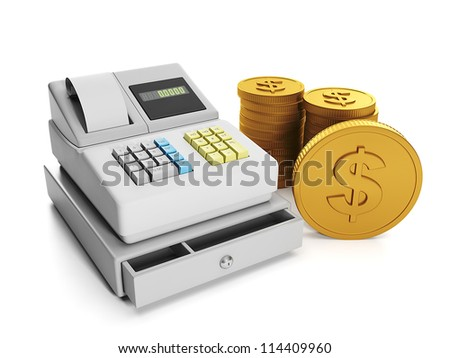 3d illustration: Sale and purchase. Cash register and a group of gold moneet.
