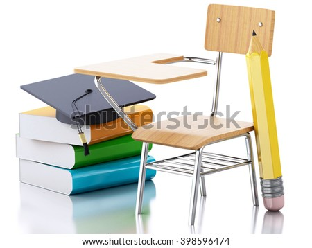 3D Illustration. School desk, pencil and graduation cap. Education concept. Isolated white background.