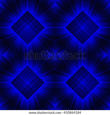 3d illustration. Seamless radiant background c checkered squares. Three-dimensional luminous psychedelic space. Regular pattern. - stock photo