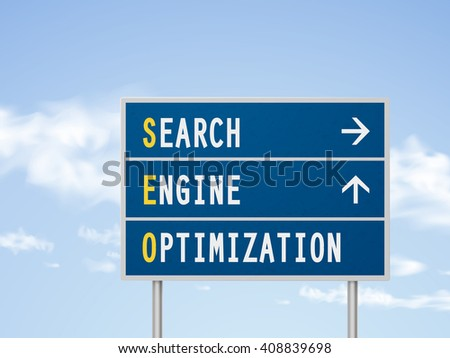 3d illustration search engine optimization road sign isolated on blue sky