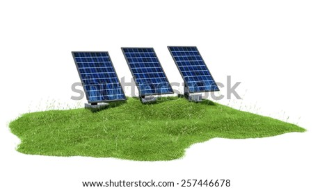 3d illustration section of grass with solar panels isolated on white - stock photo