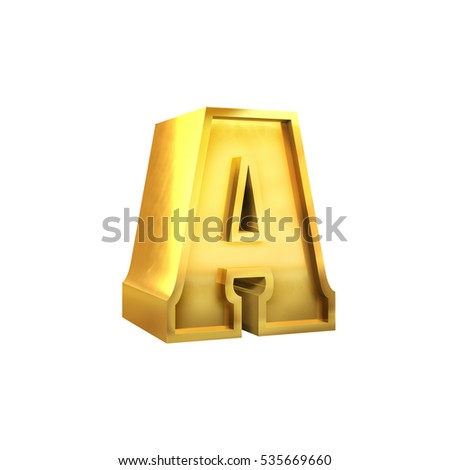 3D illustration set  of Gold alphabet letters