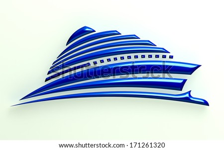 3D Illustration Ship on blue ocean