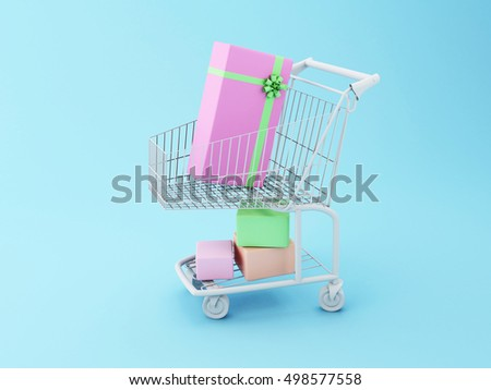 3D Illustration. Shopping cart with gift boxes. Comercial concept.