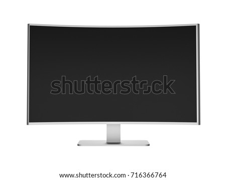 3D Illustration - Silver curved Flat TV on white Background 2
