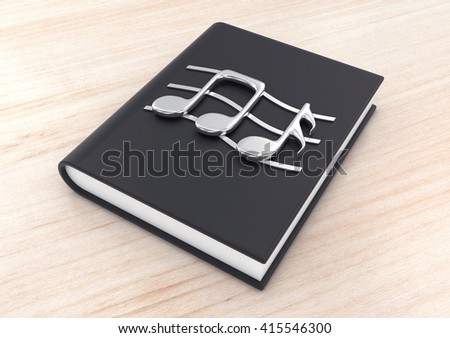3d illustration silver musical notes on a  black  textbook