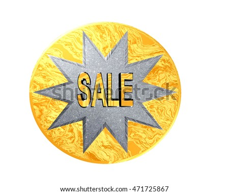 3D Illustration. Silver star in a gold circle with the text for sale on a white background