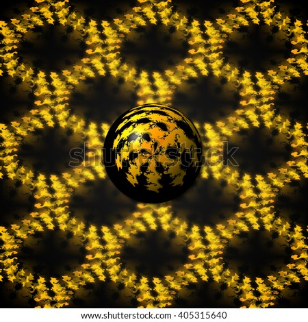 3D illustration - Small fractal Ball with a seamless background image. - stock photo