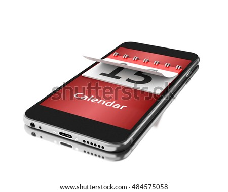 3d Illustration. Smartphone with a calendar. Time concept. Isolated white background.