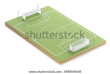 3d illustration. Soccer field. Sports concept. Isolated white background