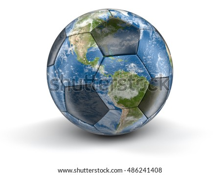 3D Illustration. Soccer football and Globe. Image with clipping path Elements of this image furnished by NASA
