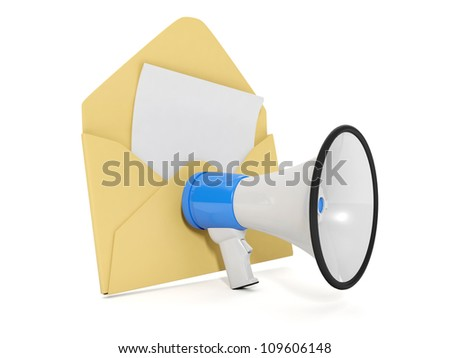 3d illustration: Speaker and the envelope. voice message - stock photo