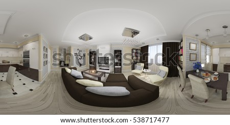 3d illustration spherical 360 degrees, seamless panorama of living room and  kitchen interior design.