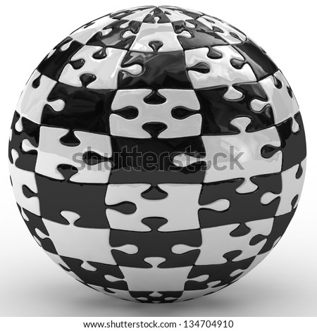 3d illustration spherical puzzle - stock photo