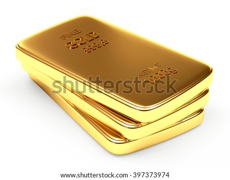 3d illustration stack of flat golden bars isolated on a white background - stock photo