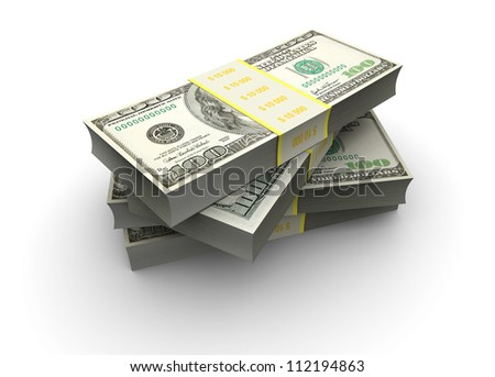 3d illustration: stake of bills of hundred dollars isolated on white background