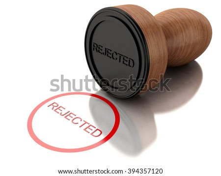 3D Illustration. Stamp rejected with red text. Isolated white background. - stock photo