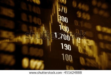 3D illustration stock market data and chart - stock photo