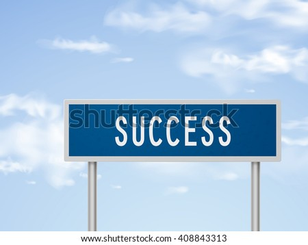 3d illustration success road sign isolated on blue sky