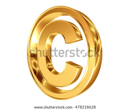 3D illustration. Symbol copyright symbol on a white background
