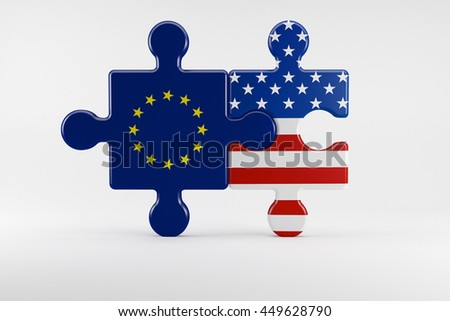 3d illustration, Symbol of good relations between USA and the EU - stock photo