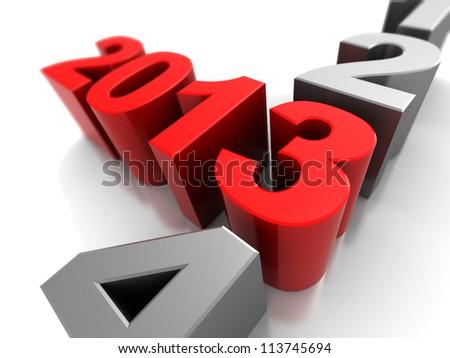 3d illustration, symbol of new year  2013 - stock photo