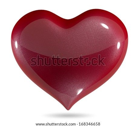 3d illustration symbolic red heart on a white background - stock photo