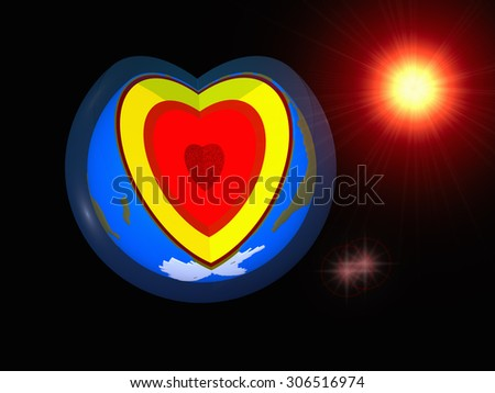 3d - illustration. Symbolic representation of the heart, from the section of the globe. Against the backdrop of the sun, stars and the cosmos - stock photo