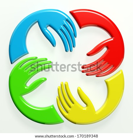 3D illustration Teamwork Hands Icon  - stock photo