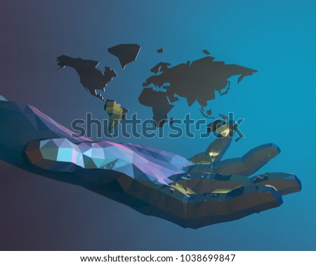 3D illustration,Technology human hands, on behalf of the future of science and technology, the future era,world map