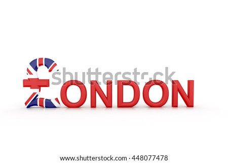 3d illustration Text London with currency symbol - stock photo