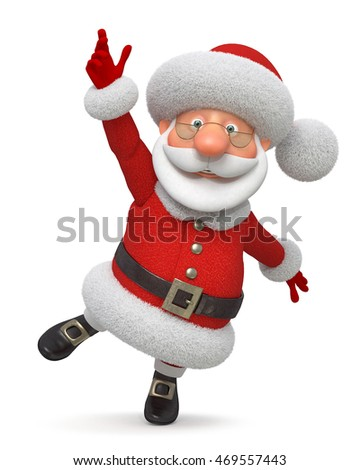3d illustration the fantastic grandfather congratulates merry Christmas/3d illustration Santa Claus runs