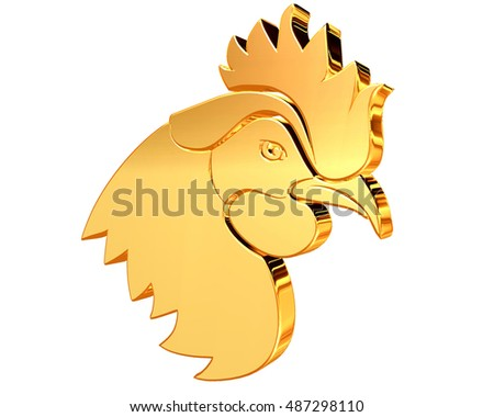 3d illustration. The image of a rooster on a white background