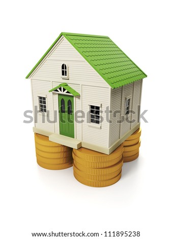 3d illustration: the purchase of a property sale. The house stands on a group of coins