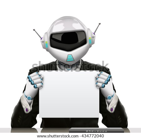 3D illustration - The robot businessman hold a large white cardboard in his hand