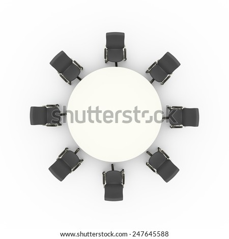 3d illustration top view of office chairs and business conference meeting round table - stock photo