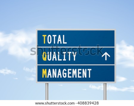 3d illustration total quality management road sign isolated on blue sky