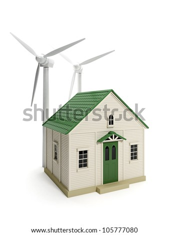3d illustration: Toy house and windmills on a white background. Environment, Energy