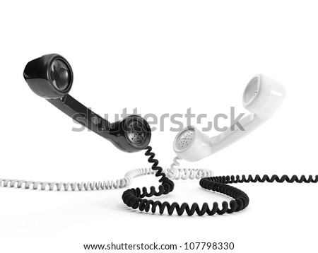 3d illustration: Two handsets black and white - stock photo