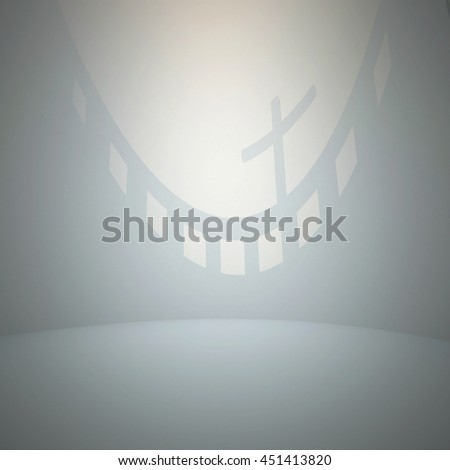 3d illustration. White architectural background based on an abstract sacral interior. A wall with a shadow in the shape of a cross. - stock photo